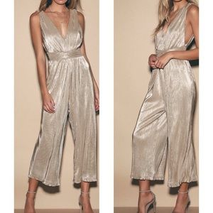 Turn Up Silver Metallic Pleated V-Neck Jumpsuit